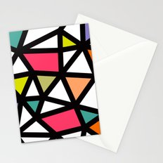 White lines & colors pattern #2 Stationery Cards