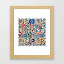 Hexagons Tiles (Colorful) Framed Art Print