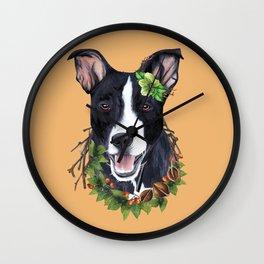 Flower dog Wall Clock