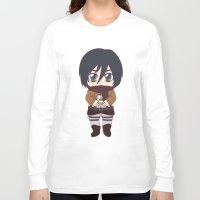shingeki no kyojin Long Sleeve T-shirts featuring Shingeki no Kyojin - Chibi Mikasa Flats by Tenki Incorporated