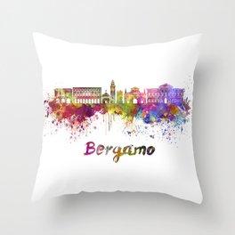 Bergamo skyline in watercolor Throw Pillow