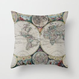 Atlas Maritimus - Vintage World Map Throw Pillow