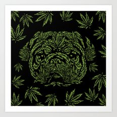 Marijuana of Pug Art Print