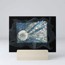 Meteor Shower mixed media mosaic shooting star Mini Art Print