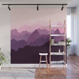 Mountains in Pink Fog Wall Mural