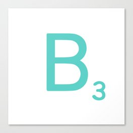 Custom Blue Scrabble Letter B Canvas Print
