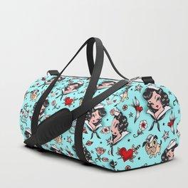 Suzy Sailor Girl on Light Blue Duffle Bag