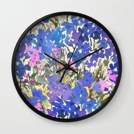 Blue Periwinkle Wildflowers Wall Clock