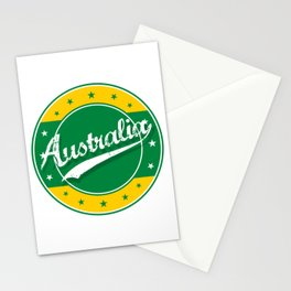 Australia, circle, green yellow Stationery Cards
