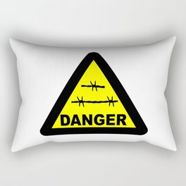Triangle Barbed Wire Warning Sign Rectangular Pillow