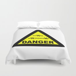 Triangle Barbed Wire Warning Sign Duvet Cover