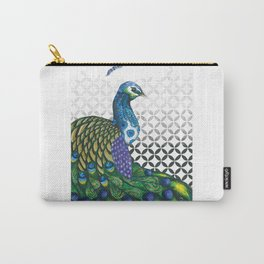 Peacock and Geometric pointillism print Carry-All Pouch