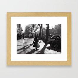 Monochrome street view Framed Art Print