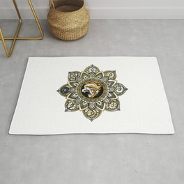 Black and Gold Roaring Tiger Mandala With 8 Cat Eyes Rug
