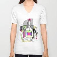 socks V-neck T-shirts featuring Funny socks by Zinaida Kazantseva