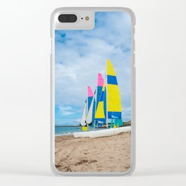 boats parked on the beach Clear iPhone Case