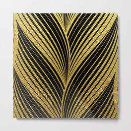 Golden leaves, gold glitter abstract waves illustration pattern Metal Print