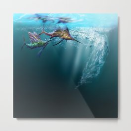 Two Crazy Marlins Going All in Metal Print