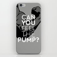 crossfit iPhone & iPod Skins featuring CAN YOU FEEL THE PUMP? FITNESS SLOGAN CROSSFIT MUSCLE by HAPPY
