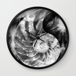 Black And White Nautilus Shell By Sharon Cummings Wall Clock