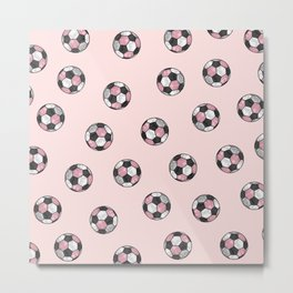 Girly Pink Gray Glitter Foil Soccer Ball  Pattern Metal Print
