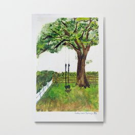 Oak Tree Swing Metal Print