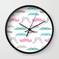 moustache Wall Clocks featuring Moustache by Eloise Roberts