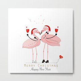 Flamingos. Wine glass with a loving couple Metal Print