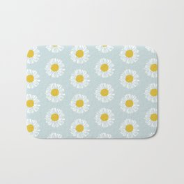 Daisy pattern basic flowers floral blossom botanical print charlotte winter Bath Mat