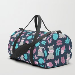 Cute Pink Teal Hippo Floral Butterfly Lily Pad Duffle Bag