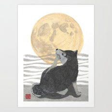 SHIBA INU, MOON, DOG Art Print