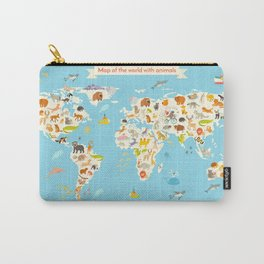 Animals world map. Colorful cartoon vector illustration for children and kids Carry-All Pouch