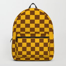 Amber Orange and Chocolate Brown Checkerboard Backpack
