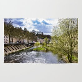 Looking Down the Alzette River with Spring Trees Blooming on Each Side in Luxembourg City Rug