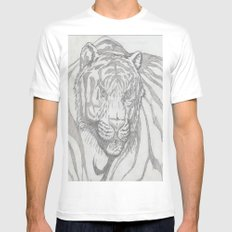 large tiger MEDIUM White Mens Fitted Tee