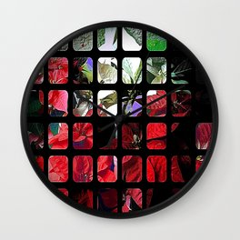 Mixed color Poinsettias 3 Art Rectangles 1 Wall Clock