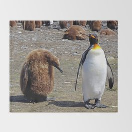 King Penguin and Chick Throw Blanket