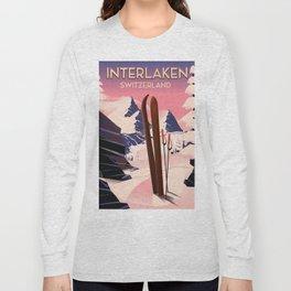 Interlaken Switzerland travel poster. Long Sleeve T-shirt