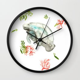 Manatee and Coral  Wall Clock