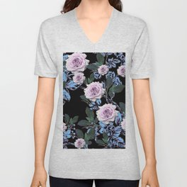 PINK & BLUE ROSE GARDEN BLACK ART DRAWING Unisex V-Neck