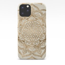 Flower of Life in Lotus - pastel golds and canvas iPhone Case