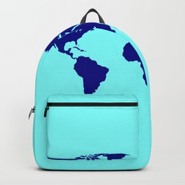 World Silhouette In Blue Backpack