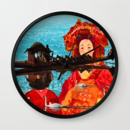 JAPANESE GIRLS IN THE AFRICAN LAKE Wall Clock