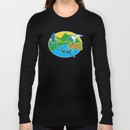 Scuba Diver Hiker Island Tropicbird Flowers Retro Long Sleeve T-shirt