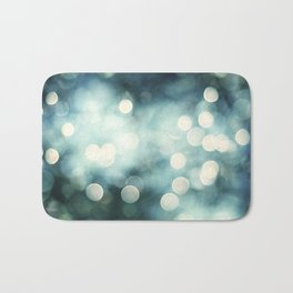 Teal Abstract Sparkle Photography, Turquoise Sparkly Lights Photo, Aqua Bokeh Print Bath Mat