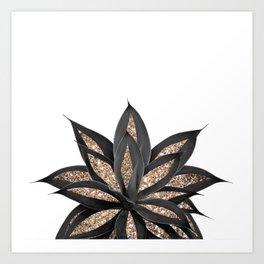Gray Black Agave with Gold Glitter #2 #shiny #tropical #decor #art #society6 Art Print