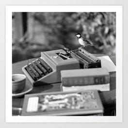 Bird on a Typewriter Art Print