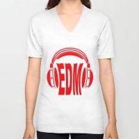 edm V-neck T-shirts featuring EDM Style Headphones by Mark