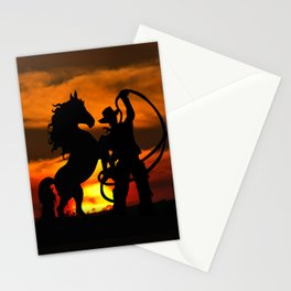 Cowboy at sunset Stationery Cards