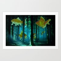 Swimming Through The Forest Art Print